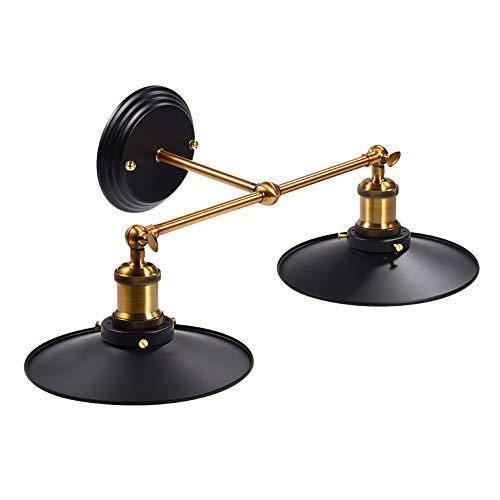 Tnfeeon Apliques de Pared Industrial, E27 Negro Vintage Edison Apliques de Pared Soporte de luz Lámpara de Pared Retro Accesorios de Metal para Cocina Comedor Loft Cafetería (Double Head) ✅