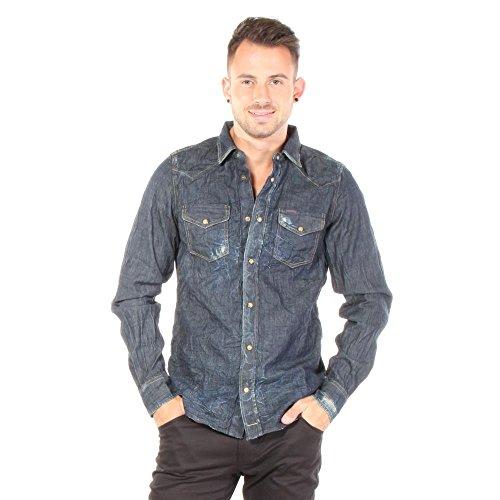 Diesel Camicia di Jeans Nuova Sonora 0609D Uomini (S, Blu)