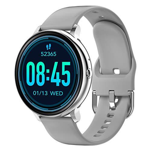 reloj inteligente para teléfonos Android y teléfonos iOS, rastreador de fitness impermeable IP67 con monitor de ritmo cardíaco y monitor de sueño, reloj inteligente para hombres y mujeres, gris…