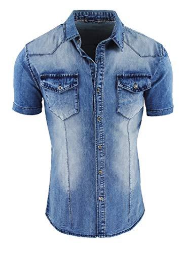 Evoga Camicia di Jeans Uomo Blu Denim a Manica Corta Slim Fit Aderente (XXL)