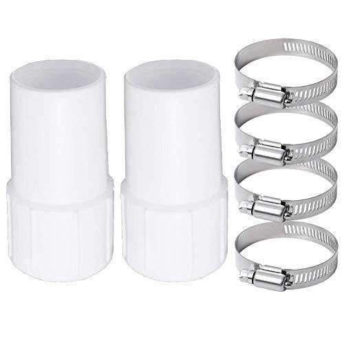 Poweka Manguito Conector de Manguera de Vacío para Piscina 38mm (2 Piezas) con Abrazaderas (4 Piezas) para Mangueras de Vacío Enrolladas en Espiral