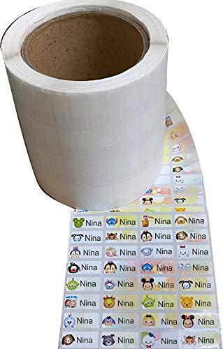INDIGOS UG mini rollo de adhesivo con nombre - 32x13mm - 30 piezas - niños, escuela, jardín de infantes, guardería, asociación, para marcar - pegatinas muchos motivos coloridos