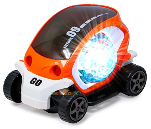 zest 4 toyz Stunt Car 360 Degree Rotating Stunt Car Bump and Go Toy with 4D Lights & Sounds Musical Car Battery Operated Toy for Kids - Assorted (Pack of 1)