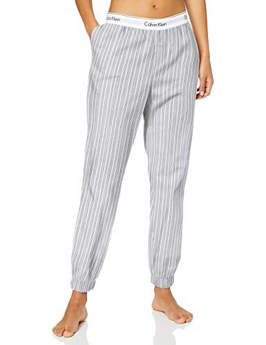 Calvin Klein Damen Jogger Schlafanzughose, Grau (MODERN Stripe_Vertical MTU), Medium