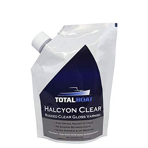 TotalBoat Halcyon Marine Varnish (Gloss, Quart)   Water-Based Polyurethane Wood Finish   Clear Gloss UV Protection for Interior and Outdoor Use