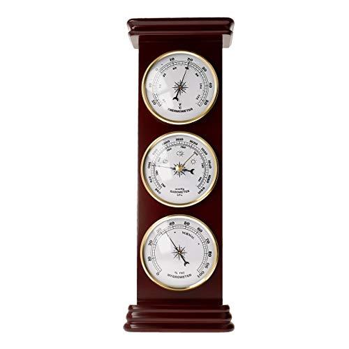 Lantelme Holz Wetterstation Thermometer Hygrometer Barometer Mahagoni lackiert Zimmer Tisch Geschenkidee 7624