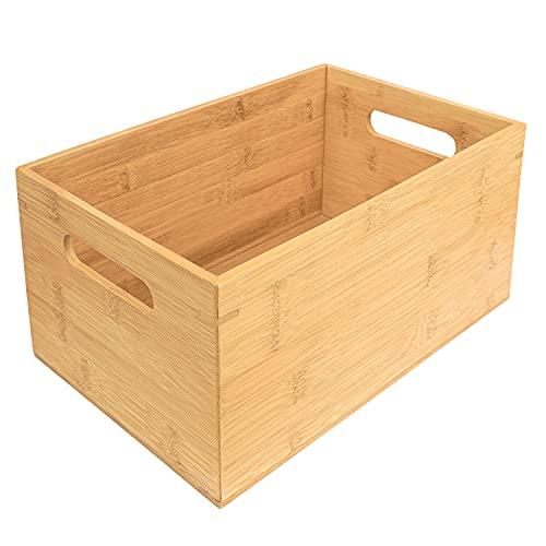 Kurtzy Cajas de Madera de Bambú con Asas 30 x 20 x 13,8 cm - Caja Madera Organizar en Casa, Oficina, Cocina y Baño - Caja Madera Decorativa Apilable para Alacena, Despensa, Repisa
