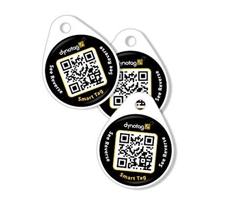 Dynotag Web Enabled Smart Round Laminated Synthetic ID Tag. Property Tag for Bags, Keychain, Personal Items - Multiple Uses, with DynoIQ & Lifetime Recovery Service. 3 UNIQUE Tags