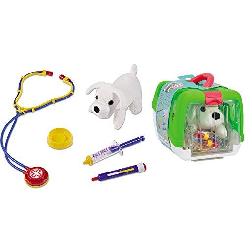 #0618 Doktorkoffer mit Hund und Zubehör, 19 cm • Tierarzt Koffer Zubehör Hundedoktor Arzt Tierarztkoffer Kinder Spielzeug Arztkoffer