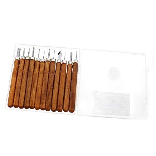 Juego herramientas tallar madera madera schnitzwe Desmontar 12tlg Kirsche 1008Hierro Mango de madera para tallar madera Carving Escultura de DIY
