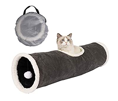 GOHOO PET Collapsible Cat Tunnel Tube Toy in Suede with Scratching Ball Crinkle Paper, Peekaboo Holes (Grey) by towers technology company limited