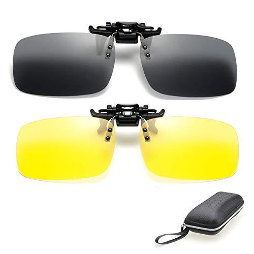 ZYZH 2 pares de gafas de sol HD polarizadas + visión nocturna Gafas Clip para hombres miopes Mujeres UV400 reduce reflejos de reflejos ideales para conducir Caza de tiro - amarillo + gris