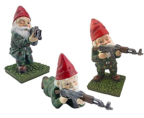 Garden Gnomes Army Statue,Funny Outdoor War Gnomes Army Resin Sculpture,Gnomes Combat Figurines for Home Outdoors Lawn Patio Yard Decor(3Pcs)