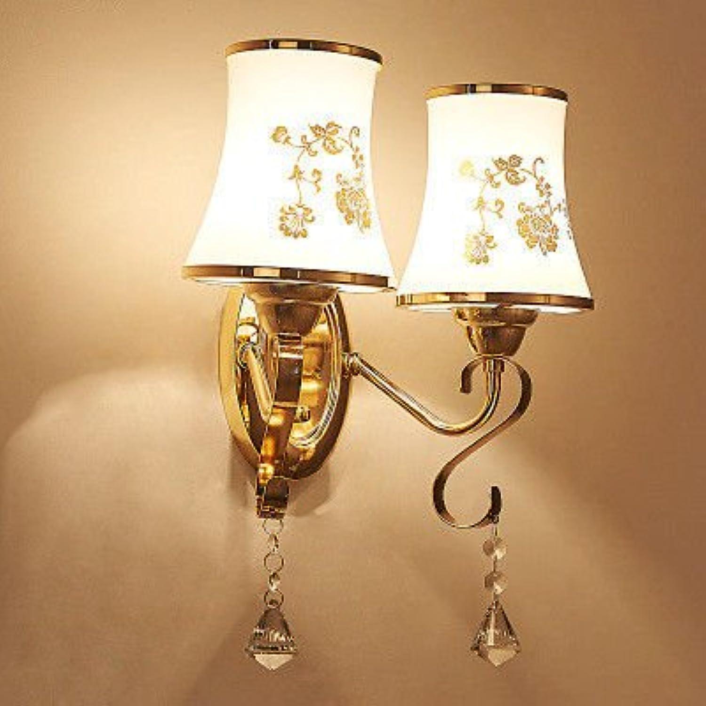 StiefelU CRYSTAL Wandlampe Schlafzimmer Nachttischlampe Wandlampe Off-Leuchte für die DurchBlautung auf der Straenwand mit geringem Stromverbrauch der LED-Leuchten 8005 Dual Head +9w Bulb