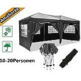 Hiriyt Gazebo/Tente 3x3m/3x6m Gazebo De Pliant - ImpermÉAble Gazebo De Jardin, Protection UV, TrÈS AppropriÉ pour Jardin, Cour, Barbecue, 6 Couleurs (3x6m Noir)