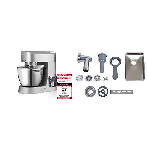CASO KM1200 Design Küchenmaschine mit umfangreichem Zubehör, 1200 Watt, Edelstahl- Rührschüssel mit 5.5 Liter Kapazität & 3152 Fleischwolf-Vorsatz für Küchenmaschine KM1200