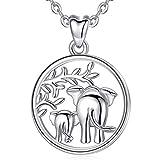Collar de Plata de Ley 925 con Colgante de Elefante de la Suerte'Amor Familiar', de AEONSLOVE, Collar con Madre y Bebé Elefante, 46 cm, Joyas para Mamá