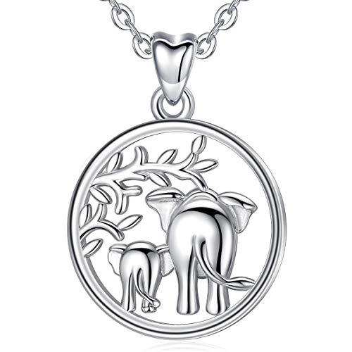 Collar de Plata de Ley 925 con Colgante de Elefante de la Suerte