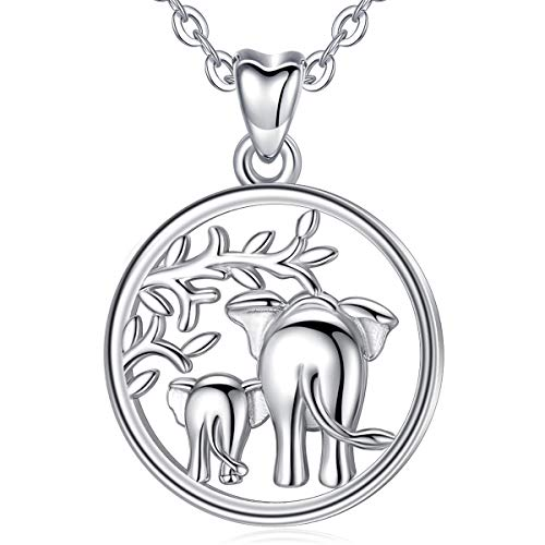 Silver Women Necklace, 925 Sterling Silver Lucky Elephant'Family Love' Pendant Necklace, Mother and Baby Elephants 18in AEONSLOVE Jewellery for Mum
