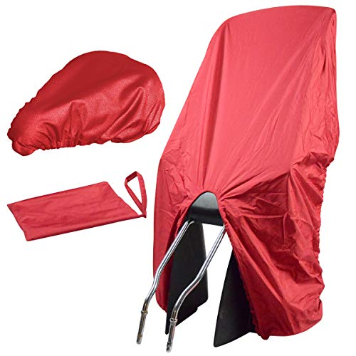 TROCKOLINO Set - Regenschutz für Fahrrad-Kindersitz und Sattel, rot