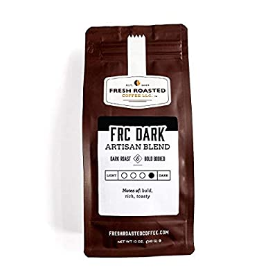 Fresh Roasted Coffee LLC, Dark Roast Blend Coffee, Artisan Blend, Whole Bean, 12 Ounce Bag