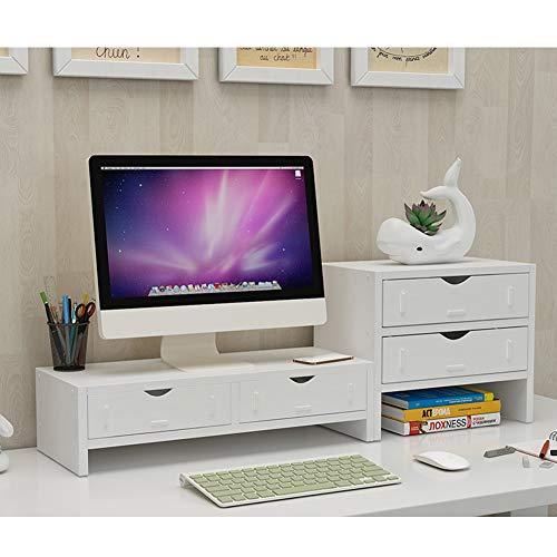 TopJiä Elevador del Monitor,Madera TV Ordenador Soporte para Monitor,Escritorio Almacenamiento Organizador Blanco 2 Nivel(2 Cajones)+3 Nivel-a