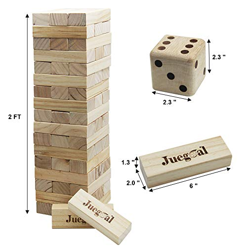 Juegoal 54 Pieces Giant Tumble Tower Blocks Game Giant Wood Stacking Game with 1 Dice Set Canvas Bag for Adult, Kids, Family