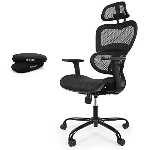 Rottnen ErgoRo Ergonomic Office Chair-Rolling Desk Chair with 3D Adjustable Armrest & Memory Foam Armrest Pads, 3D Lumbar Support, Executive Office Chair, Gaming Chair, Mesh Computer Chair(Black)
