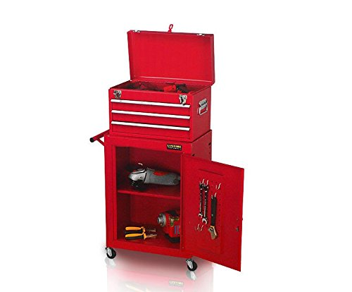 Werkzeugwagen 46x28x90cm 2tlg. fahrbar rot Metall Werkzeugtrolley