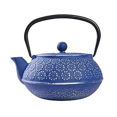 Japanese Cast Iron Teapot 34 oz, Tea Kettle with Infuser for Loose Leaf Tea,Dark Blue