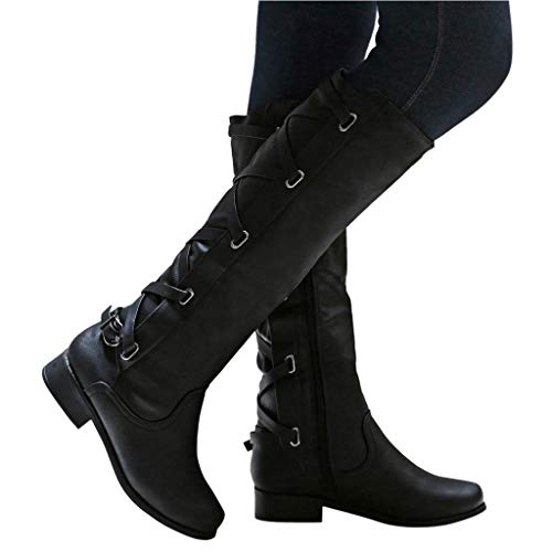 Swiusd Women's Knee High Calf Boots Combat Style Closed Toe Motorcycle Boots Classic Strap Buckle Low Heel Shoes Retro Increased Shoes (Black, US 7.5/CN 38)