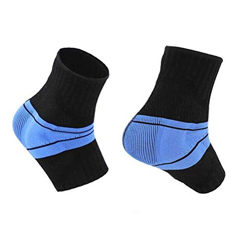 LIOOBO Sports Ankle Support Nylon Elastic Stretchy Ankle Brace with Silicone Pad for Exercise Basketball Sprain (Black, L)