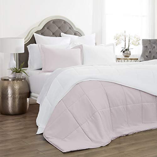 Reversible Comforter 2 Piece Set Quilted with 1 Pillow Shams | Luxurious Brushed Microfiber | Down Alternative Comforter | Soft Comfortable and Machine Washable | Twin / Twin XL - Pink Salt / White