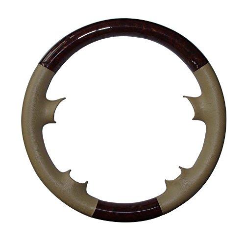 Tan Leather Brown Wood Steering Wheel Cover Protector Cap for Mercedes Benz 2003-2009 W209 CLK-Class CLK320 CLK500,R230 SL SL350 SL500 SL600,W219 CLS500 CLS550