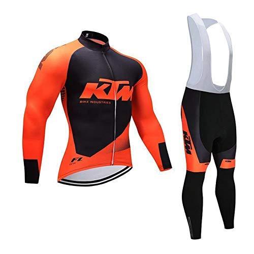 WOLFIRE WF Traje de Ciclismo para Hombre de Equipos Profesionales. De Invierno, termica. Manga Larga. Culotte y Maillot. con 5D Gel Pad. para MTB, Spinning, Bicicleta de Carretera (KTM, L)