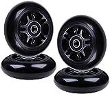 AOWISH Inline Skate Wheels 85A Kids Beginner Roller Blades Replacement Wheel with Bearings ABEC-9 (4-Pack) (Black, 80mm Diameter)