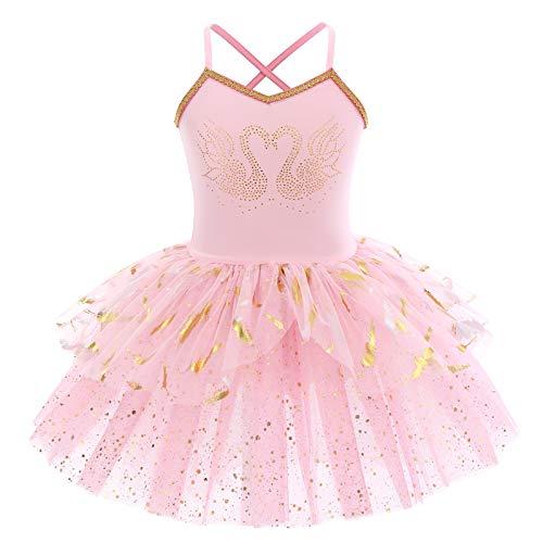 OBEEII Maillot de Danza Tutú Vestido de Ballet Leotardo Traje de Gimnasia Baile Sin Manga con Falda para Niña