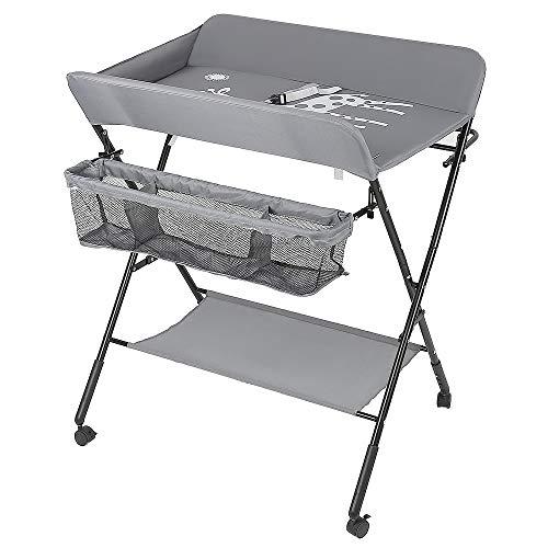 YJIIJY Table à Langer pour Bébé avec 4 roulettes, Table à Langer Pliable, Commode à langer pour bébé, Station à langer pour bébé portable, avec sangle de sécurité et paniers de rangement (gris)