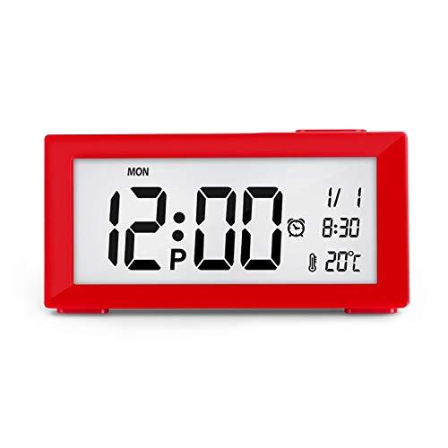 Automatisk nattljus elektronisk klocka Stor skärm Justerbar bakgrundsbelysning Väckarklocka (Color : Red)