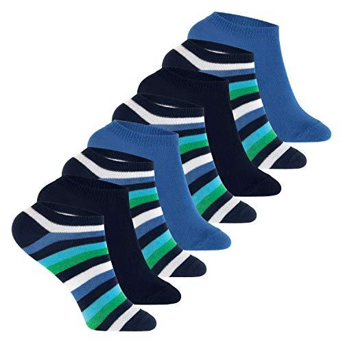 Footstar Kinder Sneaker Socken (8 Paar ) Bunte Kurzsocken für Mädchen und Jungen - Blau-Grün 31-34