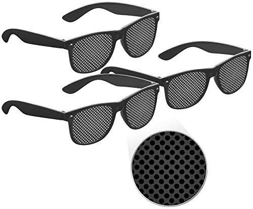PEARL Brille: 3er-Set Lochbrillen zur Augen-Gymnastik und -Entspannung, schwarz (Raster-Brille)