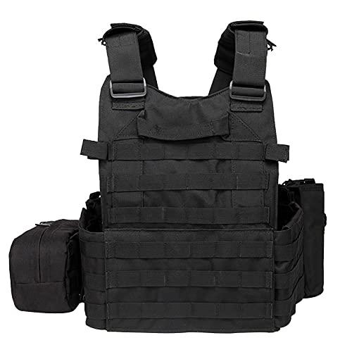 Jabroyee Chaleco de Protección, Chaleco de Seguridad Ajustable, Diseño de Tres Bolsas, Chaleco Salvavidas, Chaqueta de Protección Corporal Cómoda, Respirable Y Duradera, Adecuado para Combate