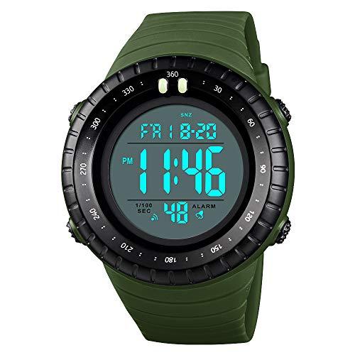 TONSHEN Multifunktional Outdoor Herren Sport Uhren LED Elektronik Digital Doppelte Zeit Countdown Alarm Stoppuhr Taktik Militär Armbanduhr 50M Wasserdicht (Grün)