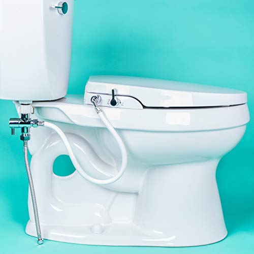 GenieBidet [ELONGATED] Seat-Self Cleaning Dual Nozzles. Rear & Feminine Cleaning - No wiring required. Simple 20-45 minute installation or less. Hybrid T with ON/OFF Included!