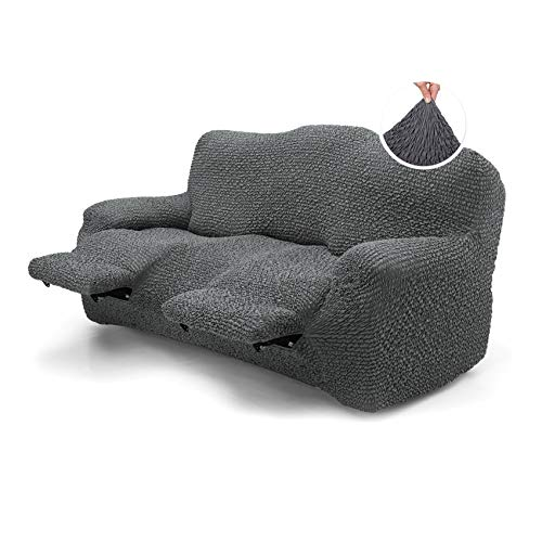 Menotti 3 Seater Recliner Sofa Cover Sanitised Recliner Cover Couch Slipcover Soft Fabric Slipcover Wingback Recliner Stretch Furniture Protector - Microfibra Collection (Charcoal, 3 Seater Recliner)