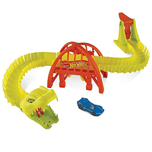 Hot Wheels City Puente ataque de la víbora, pista de coches de juguete con luces y sonidos, incluye 1 vehículo die-cast, regalo para niños +4 años Mattel GTT70