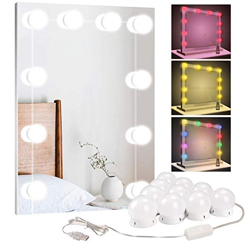 BLOOMWIN Luci da Specchio Impermeabile Multicolore 10 Leds 10 Livelli di Luminosità Trucco LED Kit di Lampadine Dimmerabili con Porta USB per Trucco Bagno Camera da Letto