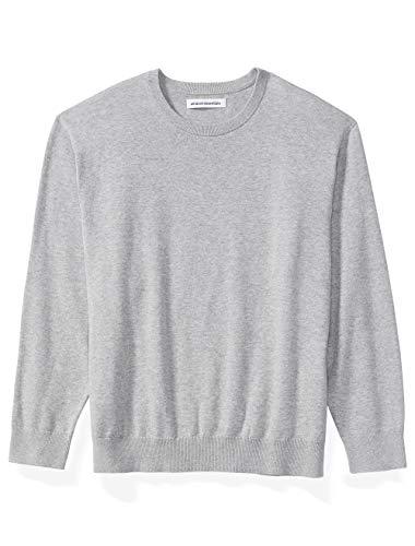 Amazon Essentials Men's Big & Tall Crewneck Sweater fit by DXL, Light Gray Heather, 5X Tall