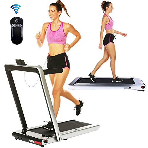 Aceshin 2 in 1 Under Desk Portable Electric Folding Treadmill Walking Pad with Wireless Remote Control and Audio Speakers, Fitness Walking Jogging Running Machine Cardio Workout for Home Office Treadmills