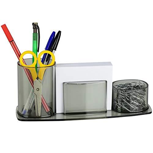 Acrimet Millennium Desktop Organizer Pencil Paper Clip Cup Caddy Holder (Plastic) (with Paper) (Smoke Color)